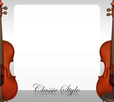violins: Border design with violins illustration