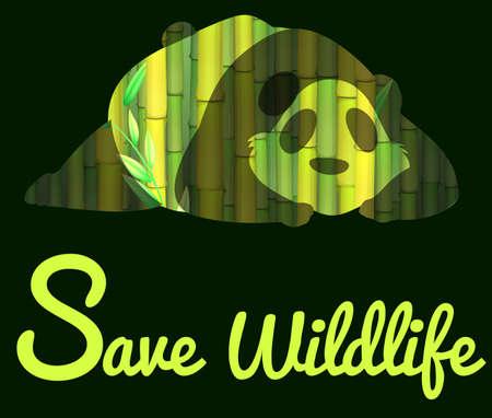 wildlife: Save wildlife with panda illustration
