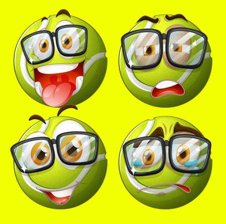 ojos tristes: Pelota de tenis con la ilustración de la expresión facial