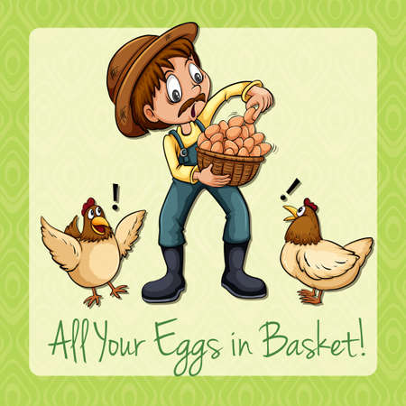 idiom: Idiom all your eggs in basket illustration Illustration