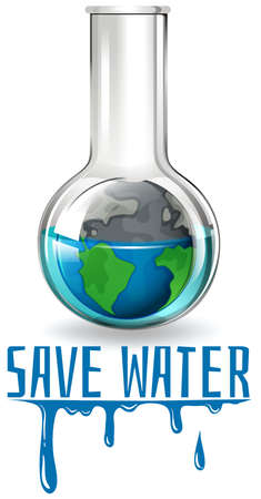 water theme: Save water theme with earth in flask illustration