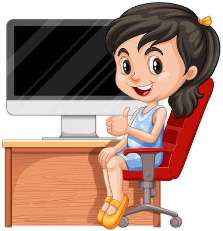 Girl sitting on chair by the computer illustration Illustration