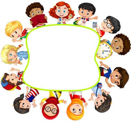 r image: Border design with boys and girls illustration Illustration