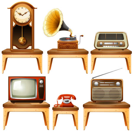 antiques: Retro antiques on wooden table illustration