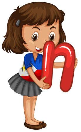 lettre alphabet: Petite fille tenant lettre N illustration