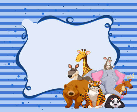 animals in the wild: Borderdesign with wild animals illustration