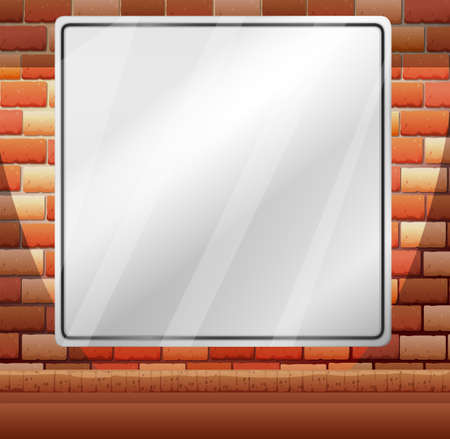 bakstenen muur: Blank border on brick wall illustration