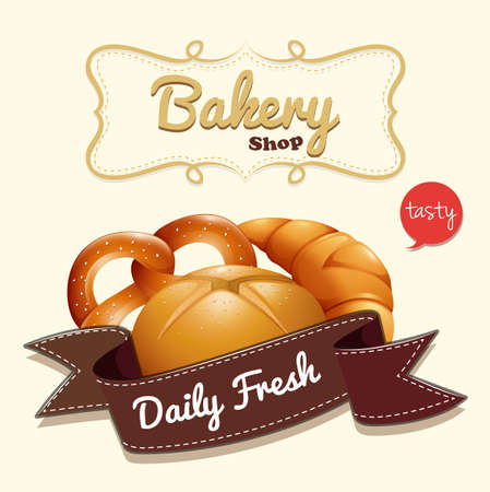 buttery: Bakery logo with text and bread illustration Illustration
