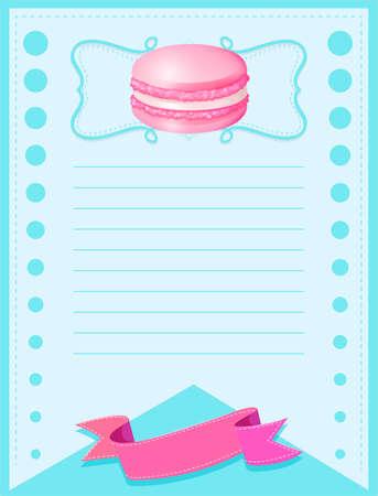 macaron: Line paper design with pink macaron illustration Illustration