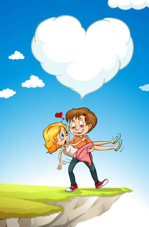 woman in love: Man carrying woman with love illustration
