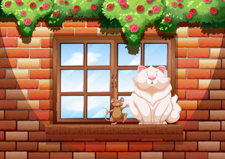 flowers fluffy: Fat cat and little mouse illustration Illustration