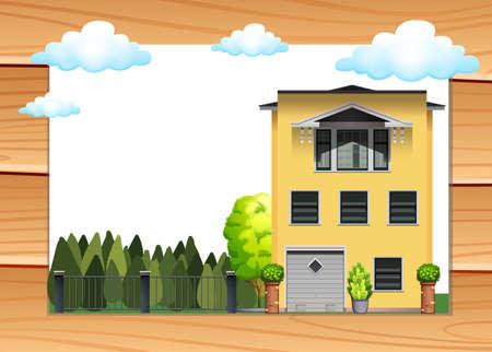 daytime: Single house and yard at daytime illustration