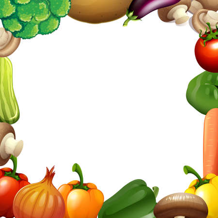 calories: Border design with mixed vegetables illustration