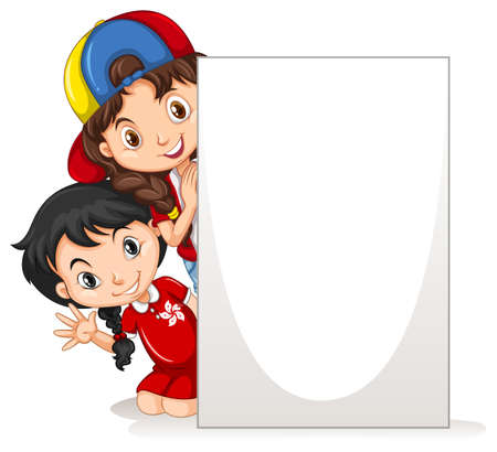 Two girls behind the blank paper illustration