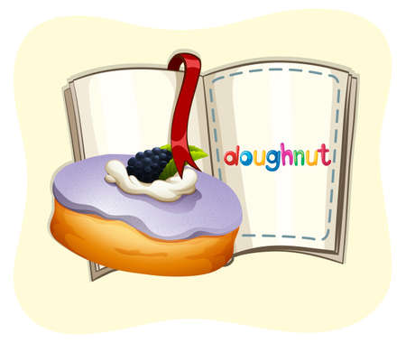 flavours: Blueberry flavor doughnut and book illustration