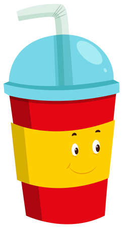 plastic straw: Cold drink in plastic cup illustration