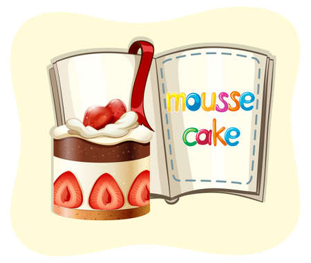 tarta de frutillas: Strawberry cake and a book illustration Vectores