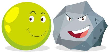 facial   expression: Ball and rock with facial expression illustration Illustration