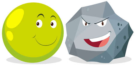 gesichtsausdruck: Ball und Rock mit Gesichtsausdruck Illustration Illustration