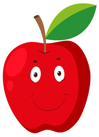 red apple: Red apple with happy face illustration Illustration