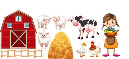 working animals: Farmer and farm animals illustration