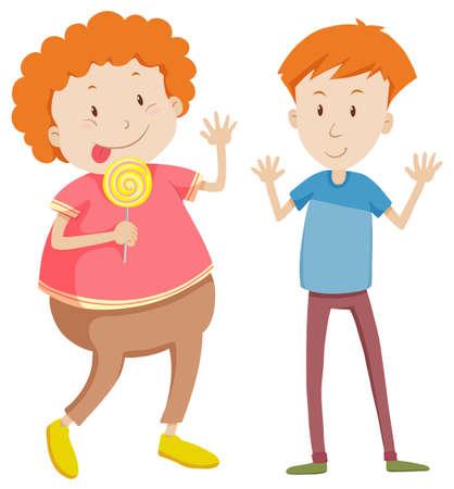 Adjetivos opuestos delgada y la ilustración de grasa Foto de archivo - 46350463