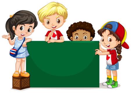 green board: Children standing by the green board illustration Illustration