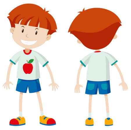 Front and back view of a boy illustration