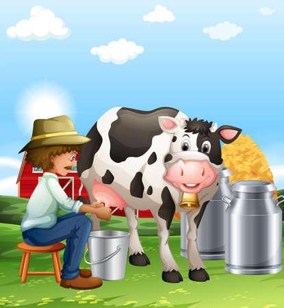vaca: Farmer ordeñando una vaca en la ilustración día