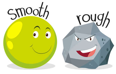 Opposite adjectives smooth and rough illustration