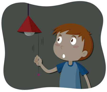 Boy turning off the light illustration