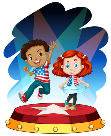 performing: Boy and girl performing on stage illustration Illustration
