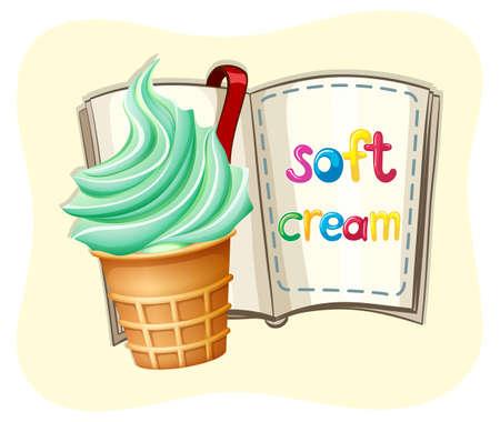 soft cream: Soft cream in cone and a book illustration