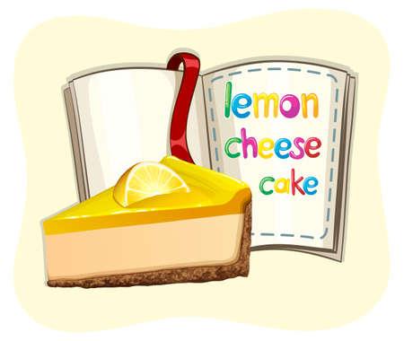 cheesecake: Lemon cheesecake and a book illustration Illustration