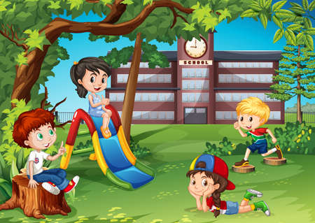 little boy and girl: Students playing in the school playground illustration