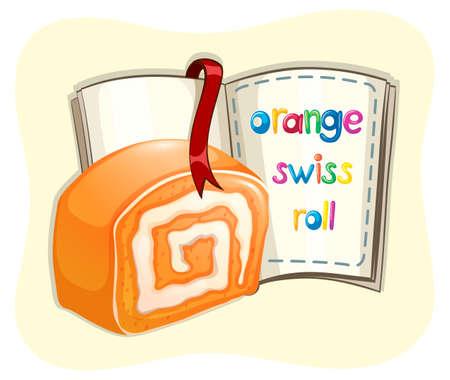 swiss roll: Orange swiss roll and a book illustration