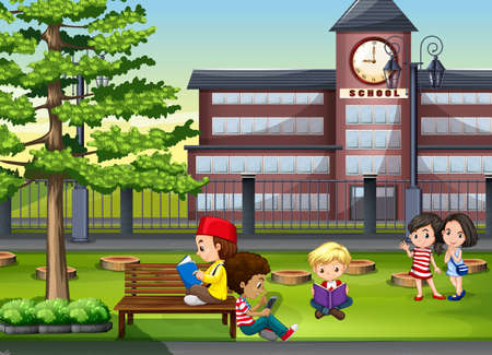 recess: Children hanging out at the school ground illustration Illustration