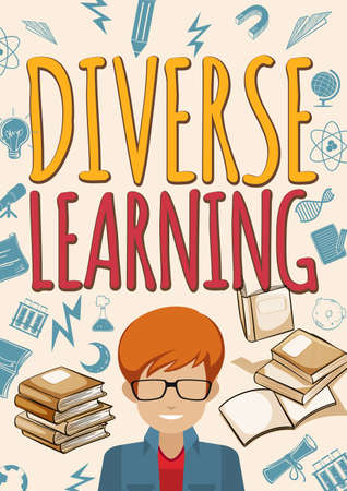 student with books: Diverse learning poster with student and books illustration Illustration