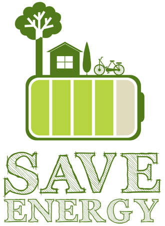 accomodation: Save energy poster with green design illustration