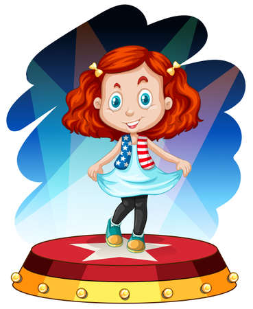 performing: Little girl standing on stage illustration