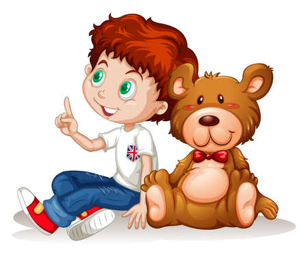 stuffed: Little boy and teddy bear illustration Illustration