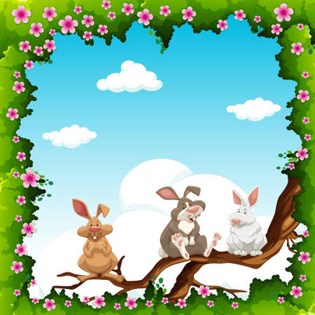 flowers fluffy: Flowers border and rabbits on branch illustration