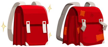 brand new: Schoolbags new and old illustration Illustration