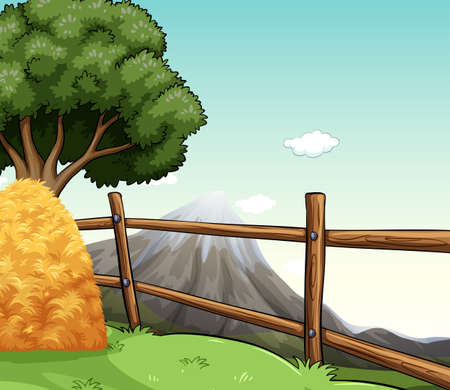 Farm scene with haystack by the fence illustration