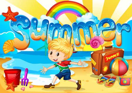summer holiday: Little boy enjoy summer on the beach illustration