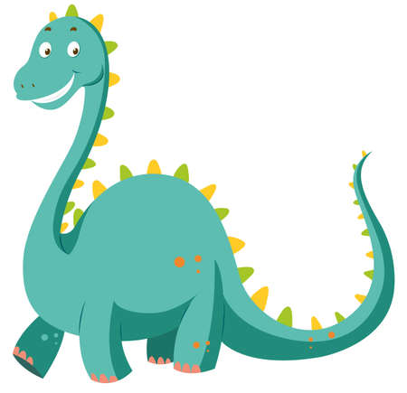 Green dinosaur with long neck illustration Иллюстрация