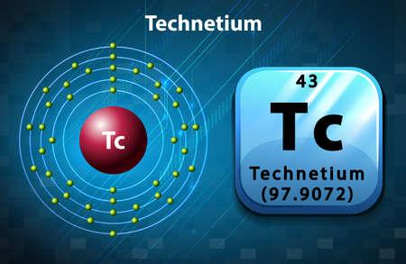 electron: Symbol and electron diagram for Technetium illustration