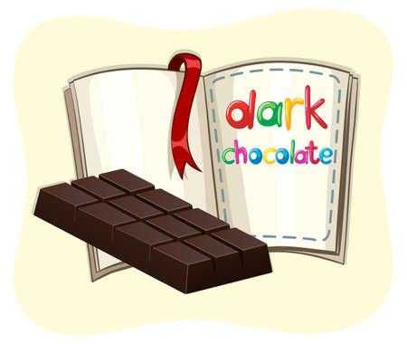 dark chocolate: Dark chocolate and a book illustration