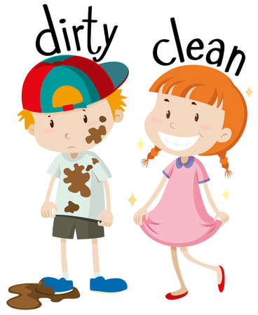 child boy: Opposite adjectives dirty and clean illustration Illustration