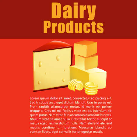 dairy products: Dairy products with cheese and text illustration Illustration